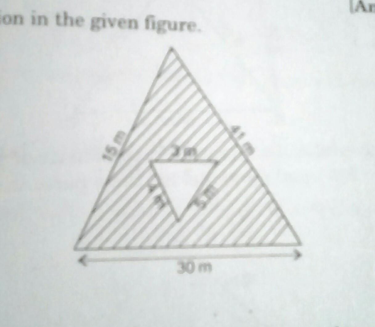 Find The Area Of Shaded Region In The Given Figure