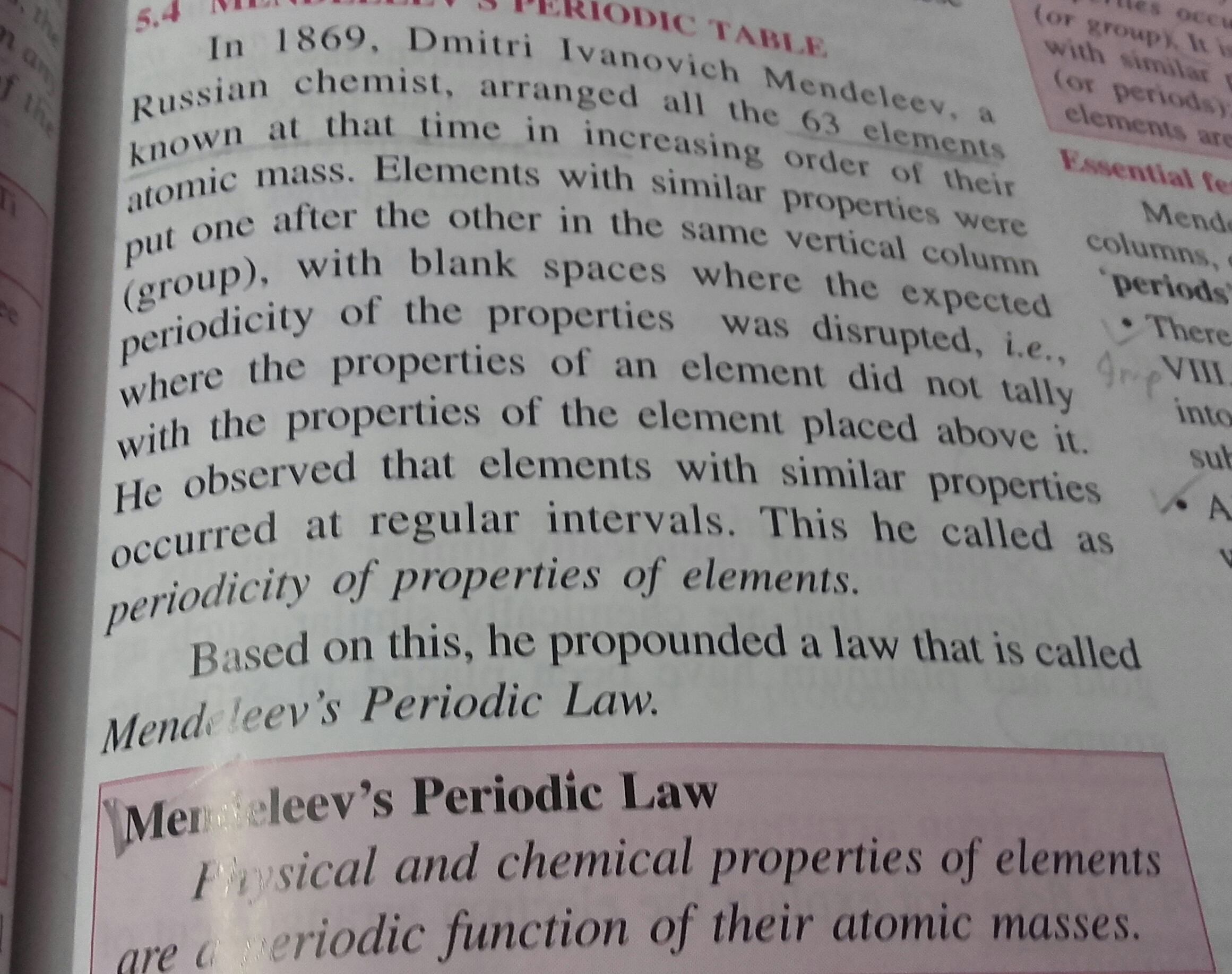 Which 2 Criteria Did Mendeleev Used To Classify Elements In His Periodic Table