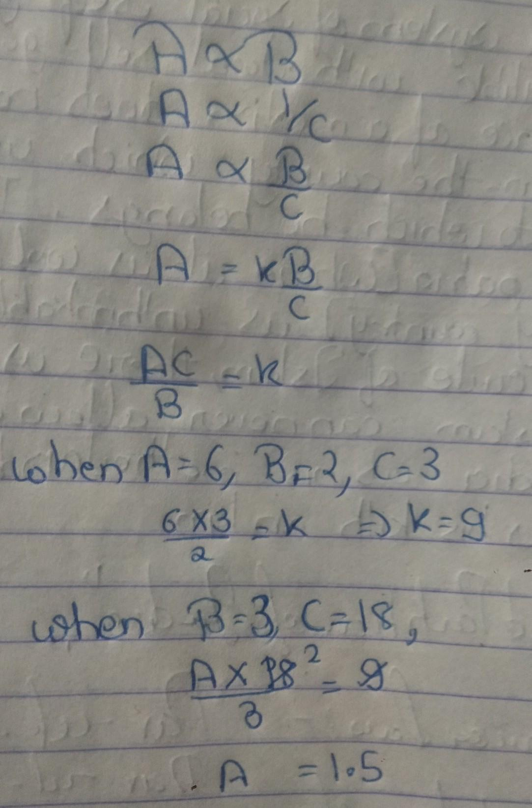 A Varies Directly With B When C Is Constant Andinversely