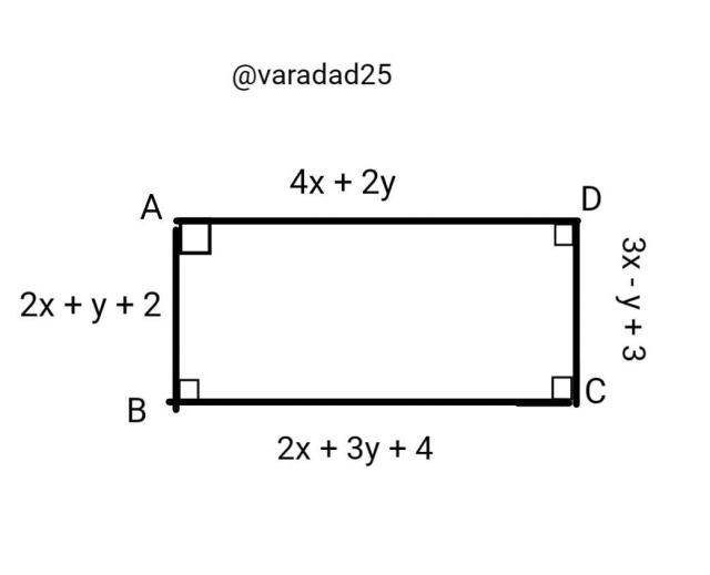In the figure, the sides of a rectangle aregiven. The lengths are