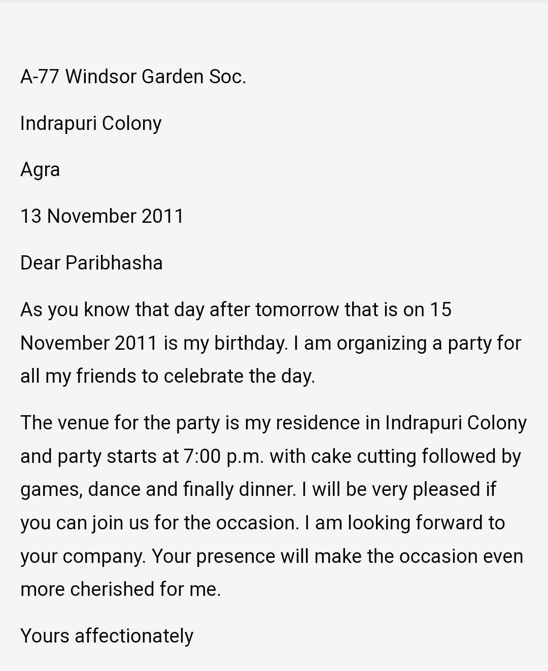 writing on invitation for birthday party