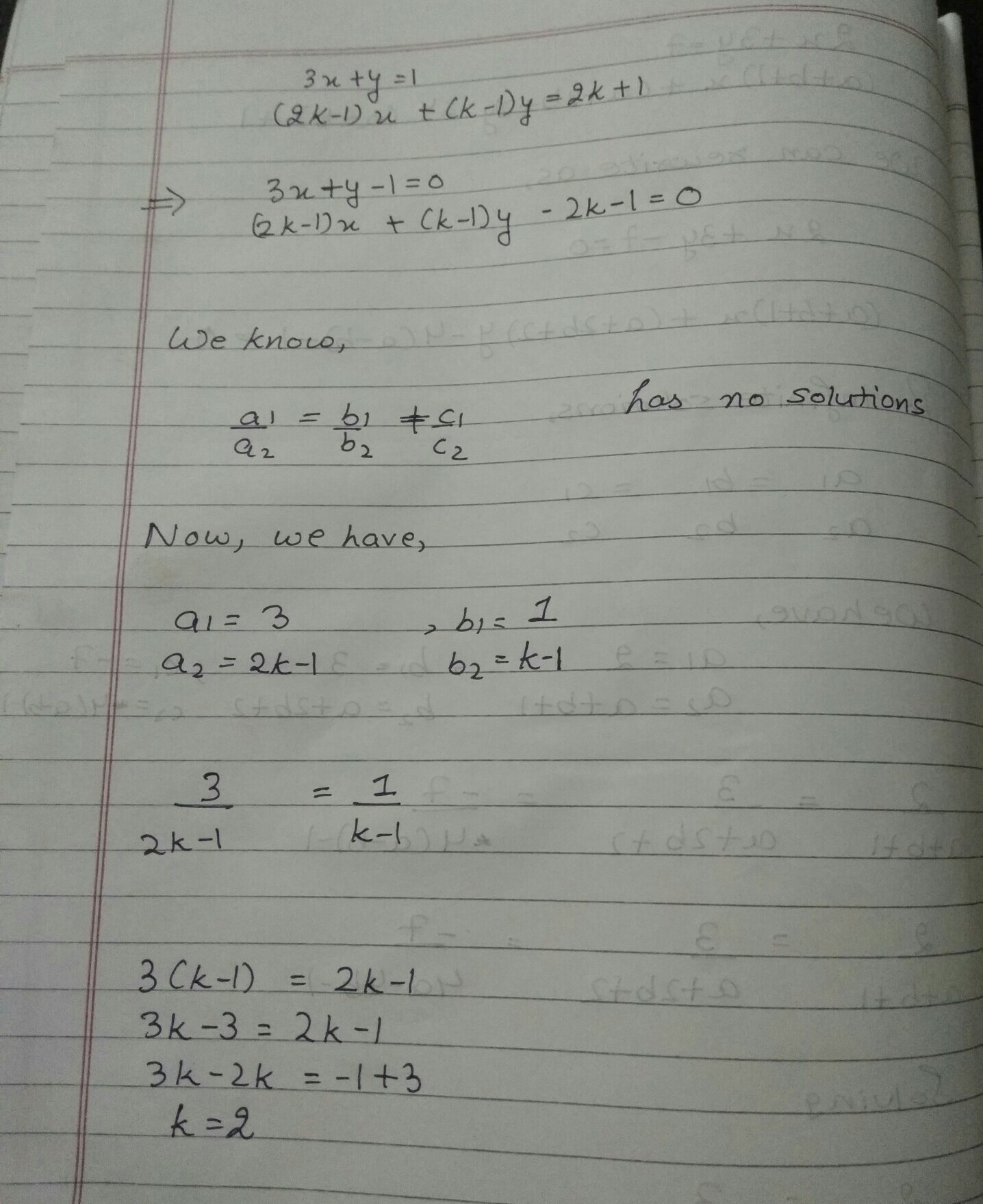 For Value Of K Will The Following Pair Of Linear Equations
