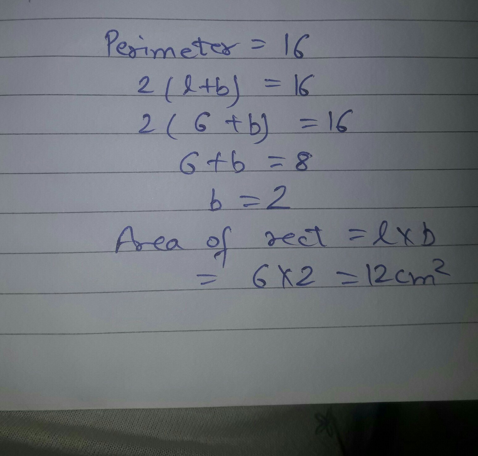 The Length Of A Rectangle Is 6cm And Its Perimeter Is 16cm