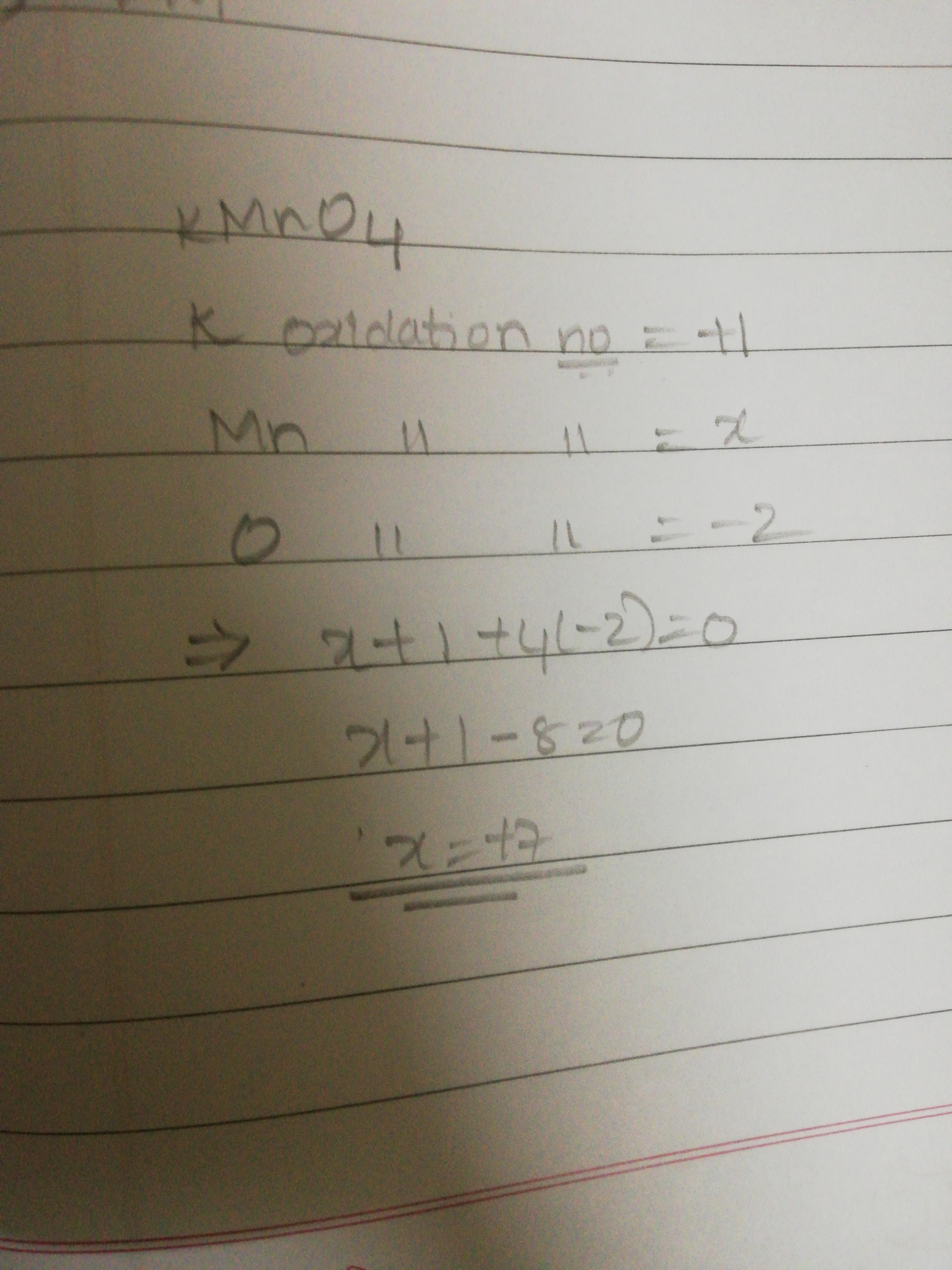 What Is Oxidation Number Of Manganese In Kmno4
