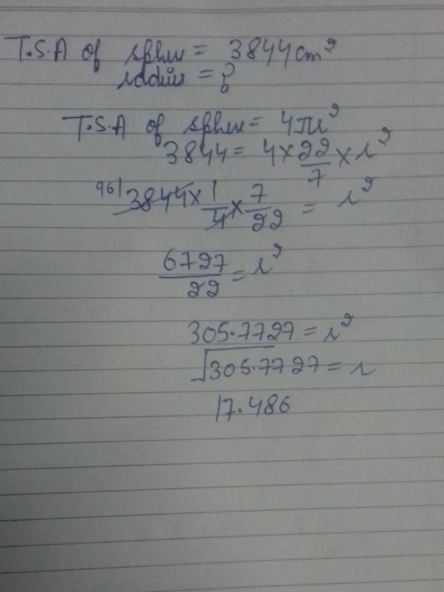 the surface area of a sphere is 15m find the radius of the