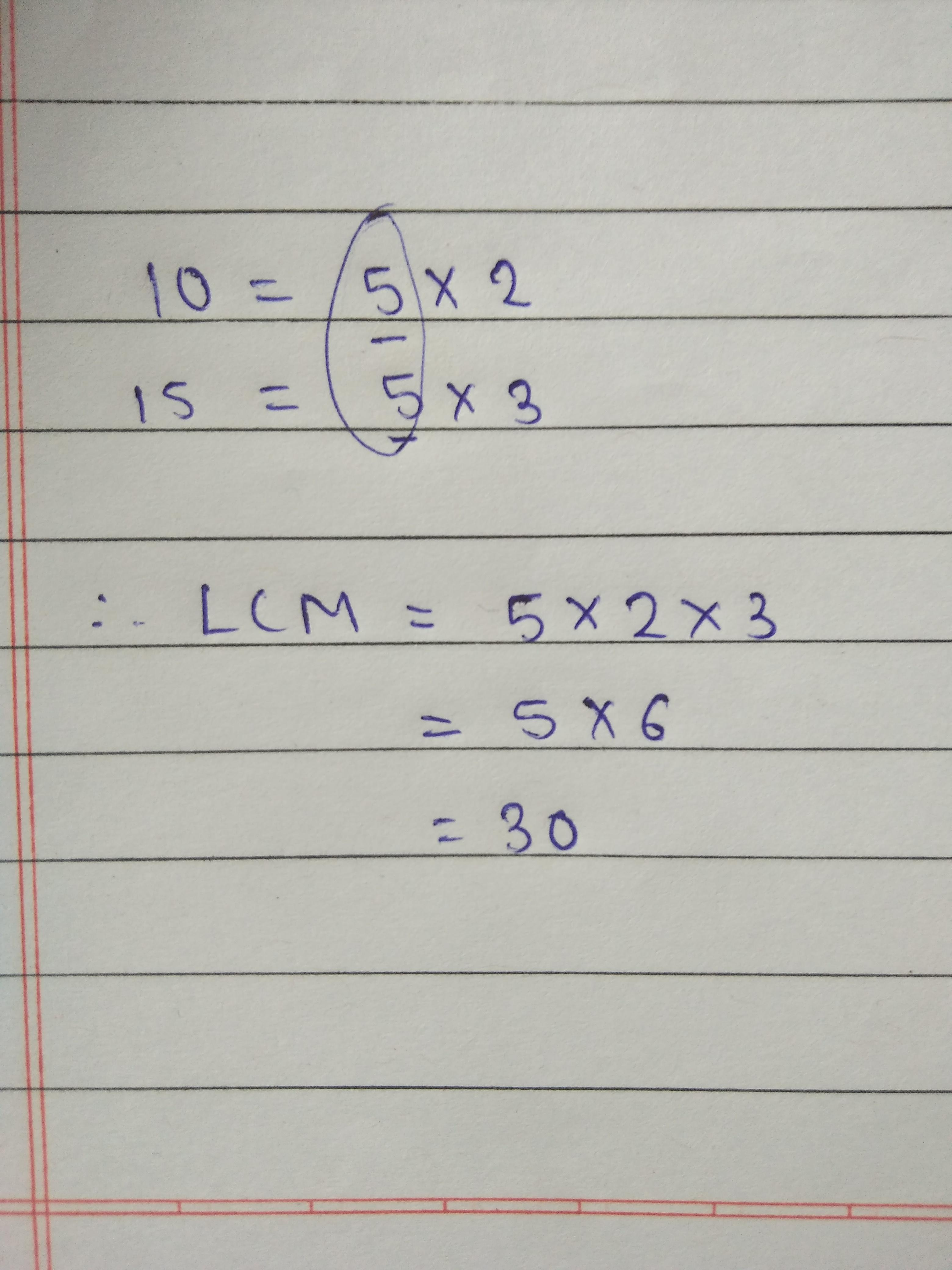 Lcm Of 10 And 15 Using Prime Factorization Method