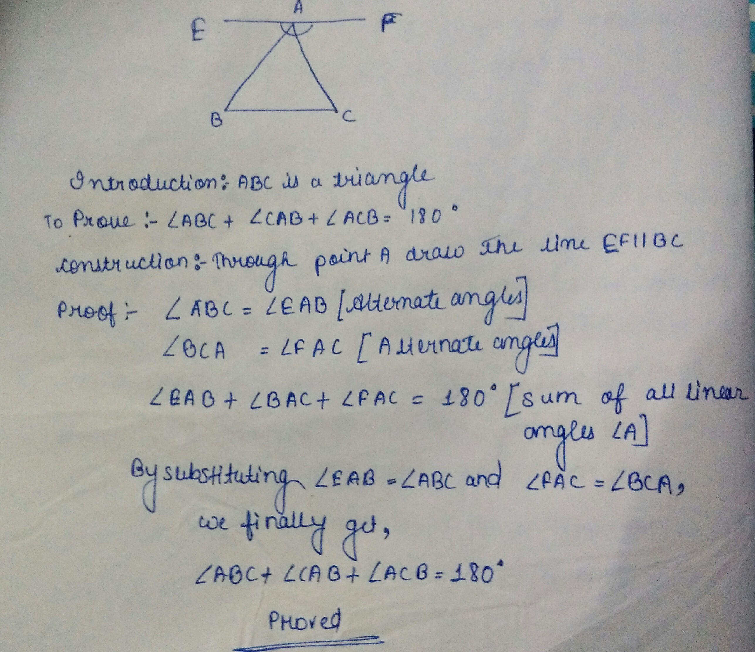 Prove That The Sum Of Angles Of A Triangle Is 180