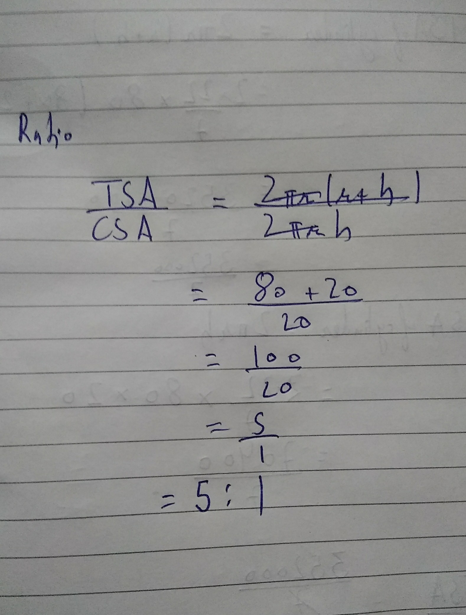 The Ratio Of Total Surface Area To Lateral Surface Area Of