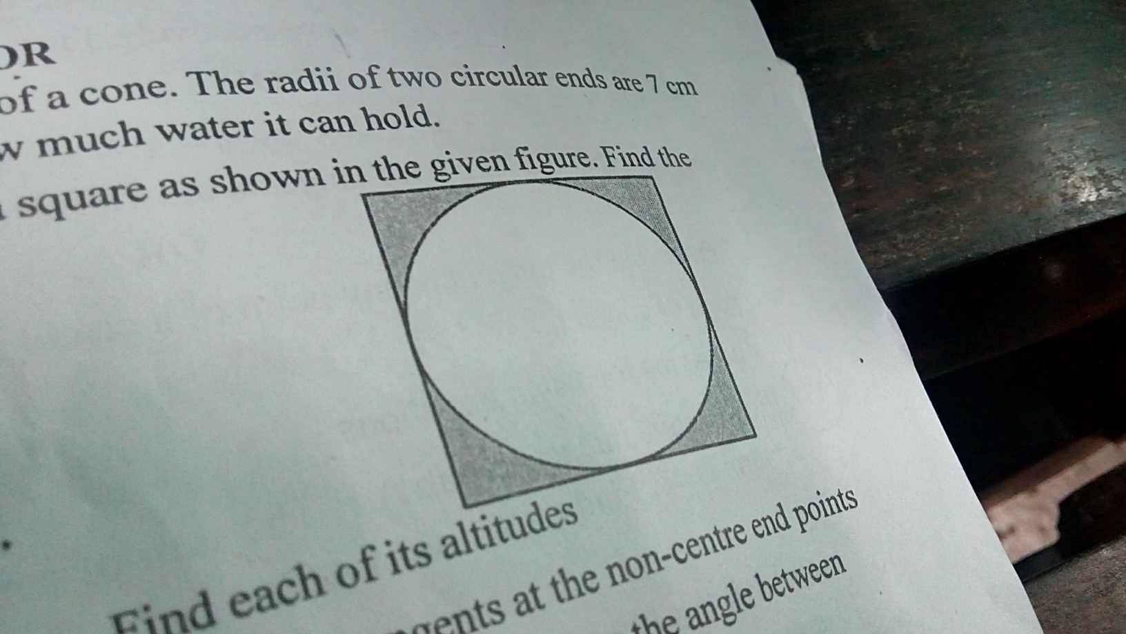 A Circle Of Radius 6 Cm Is Inscribed In A Square As Shown
