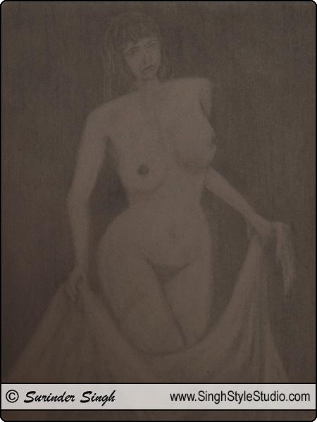 नग्न चित्रकला दिल्ली भारत चित्रकार सुरिन्दर सिंह कलाकार दिल्ली