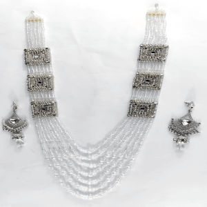 White and Silver Mala with Earrings design with Price in Pakistan 2021