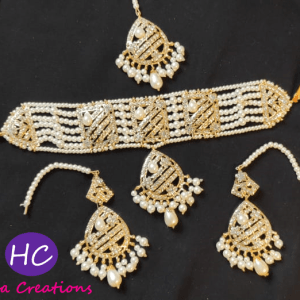 White Pearls Golden Choker Set Design with Price in Pakistan 2021 Online