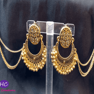 Antique Triple Layer Chain Earrings with Sahara design with Price in Pakistan 2021 Golden