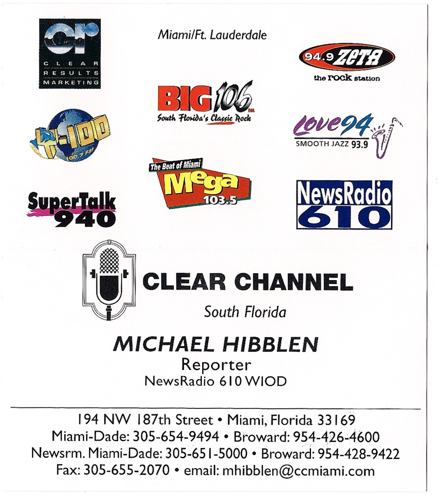 Wiod miami florida hibblen radio my wiod business card in 1999 reheart Images