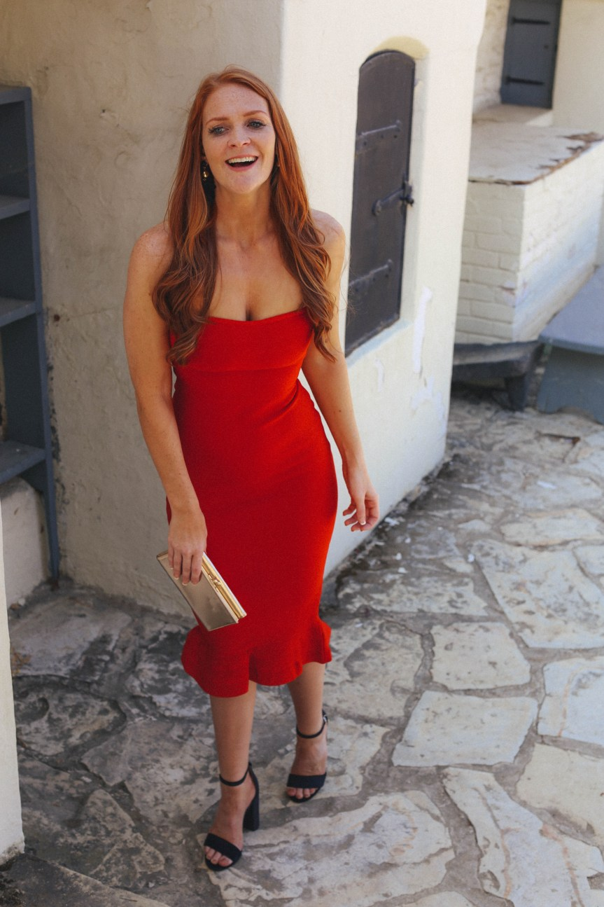 Red bandage dress perfect for date night