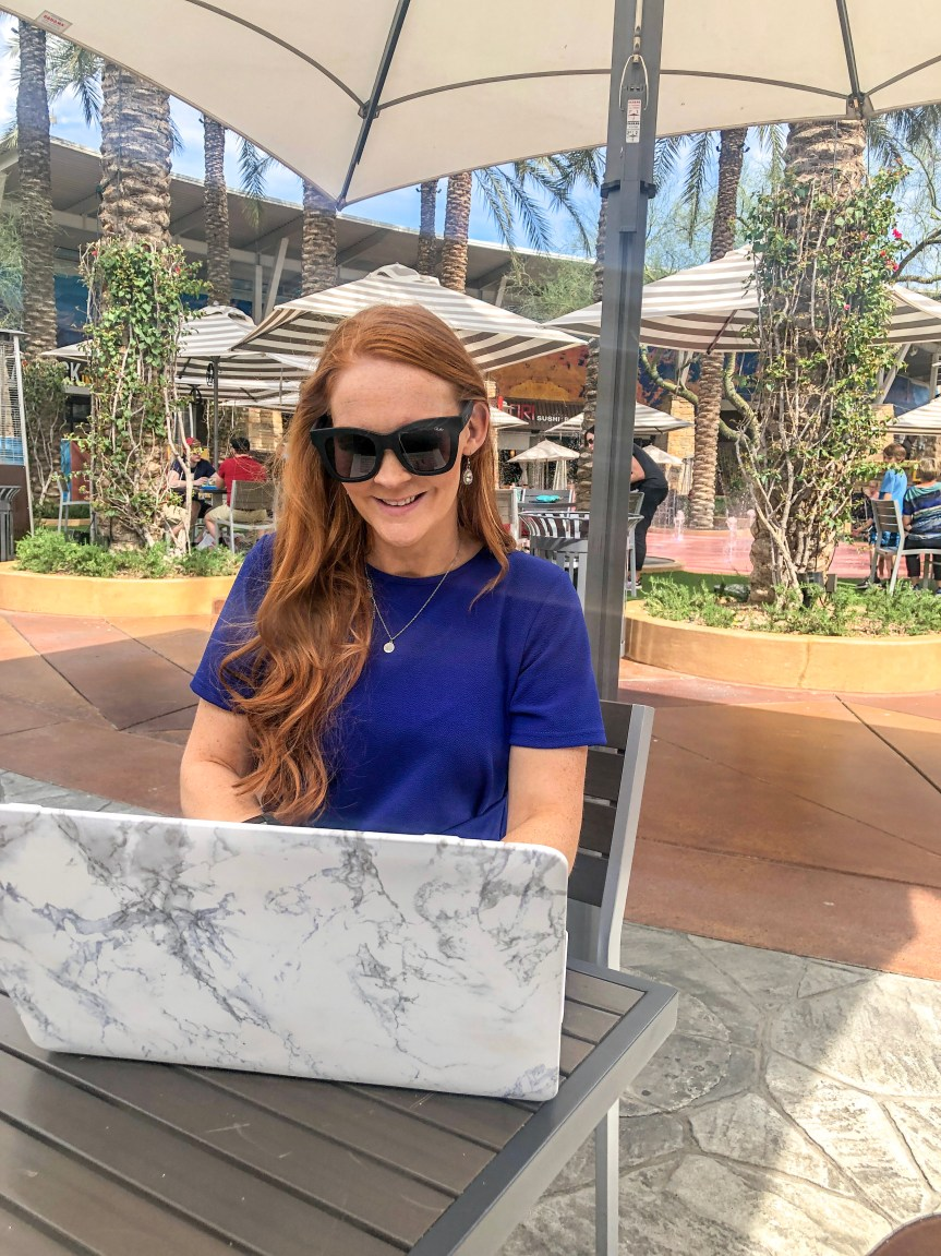 Blogger working at Desert Ridge Marketplace