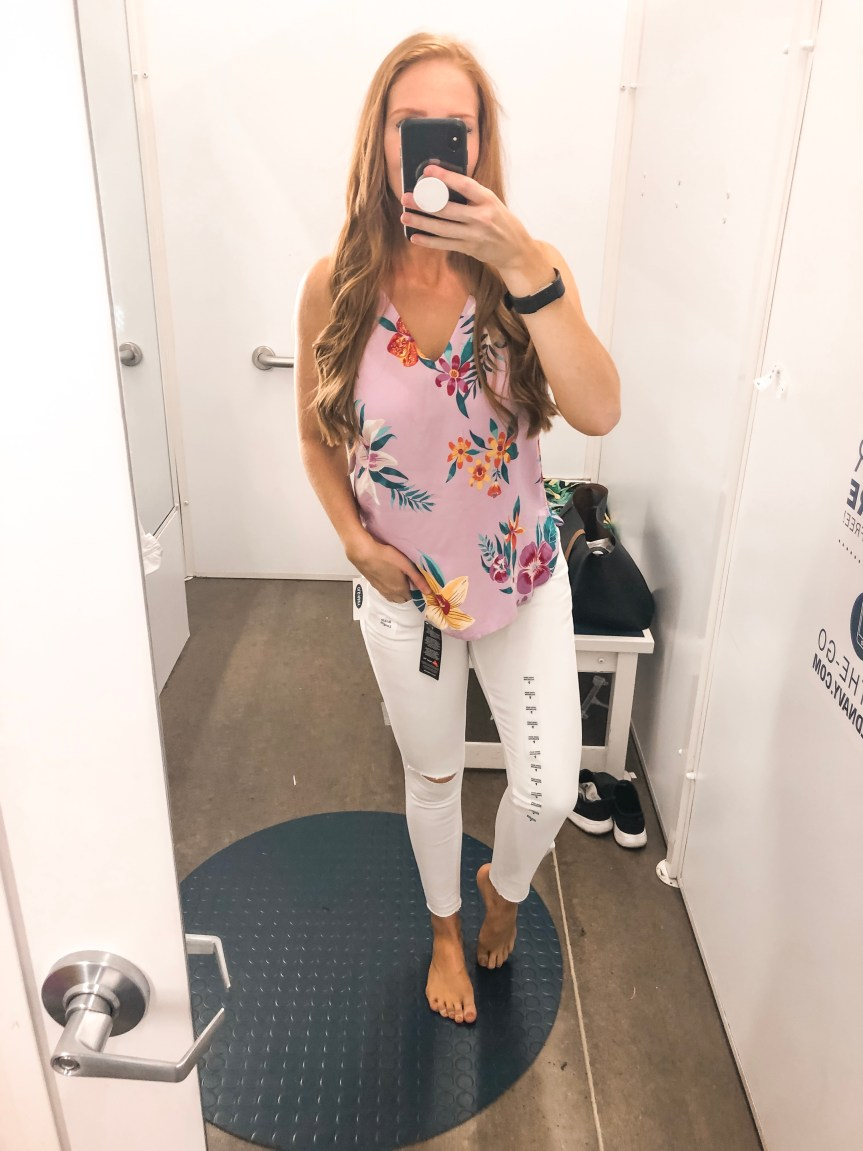 Old Navy Summer 2019 try on session white jeanst