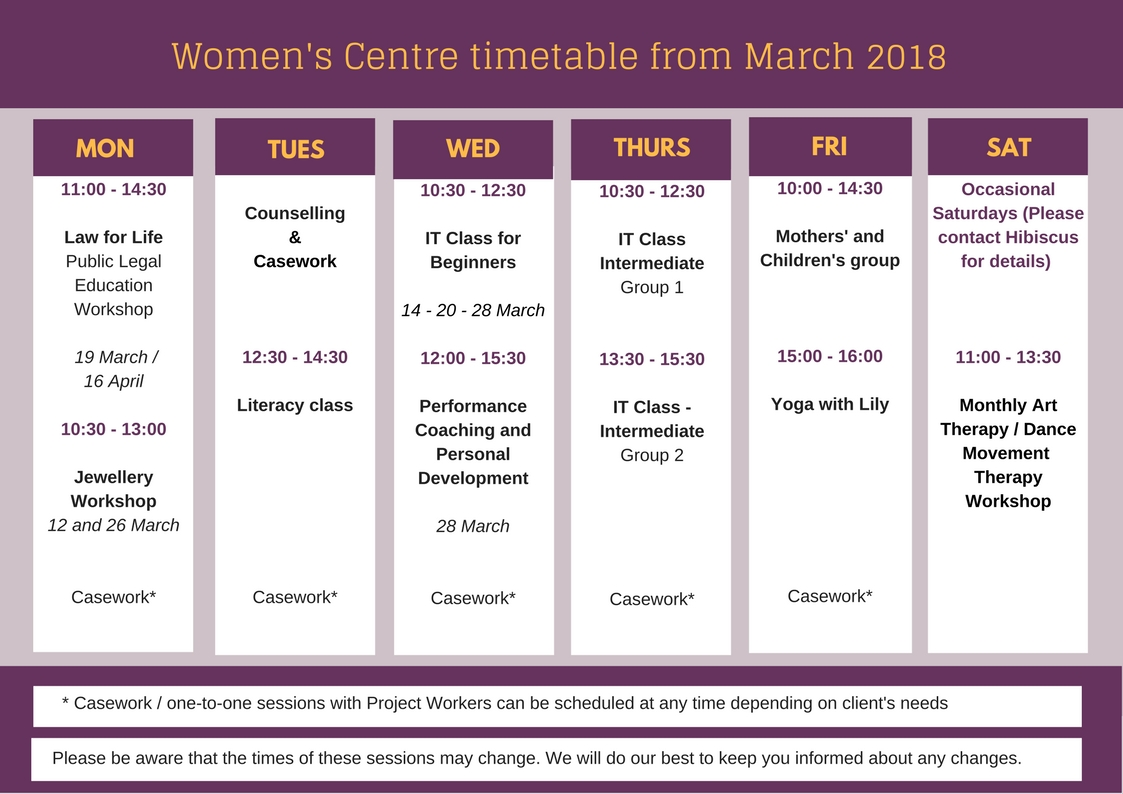 Women's Centre timetable from March 2018