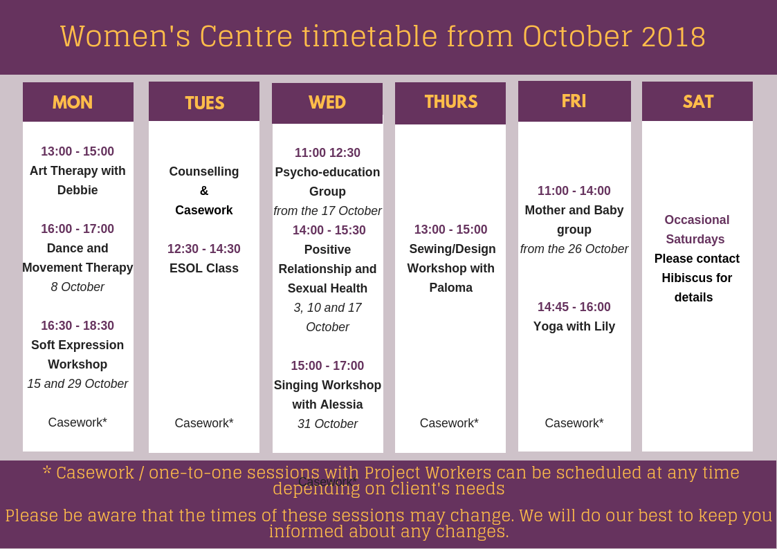Women's Centre timetable – October