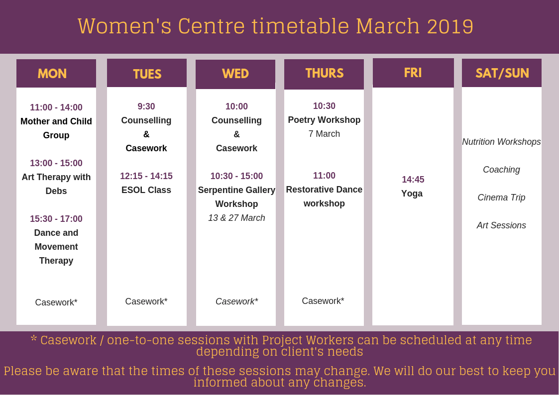 Women's Centre timetable – March 2019