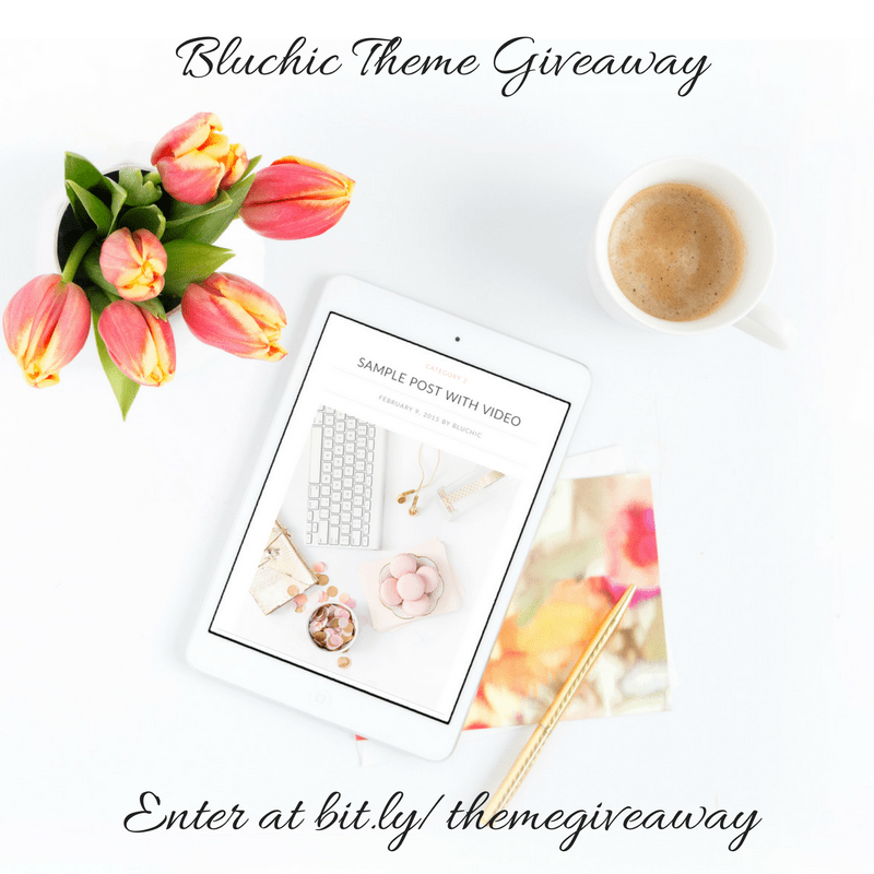 One lucky blog winner will get a gorgeous WordPress theme of their choice from Bluchic!