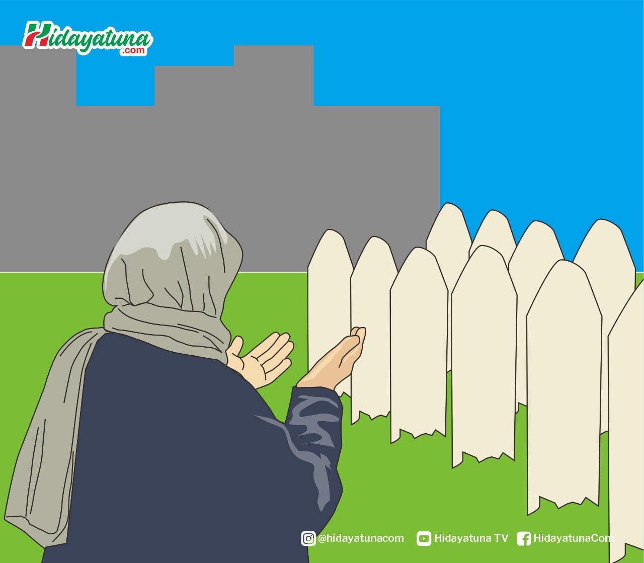 Doa Rasulullah saat di makam (Ilustrasi/Hidayatuna)