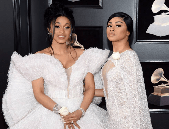 Cardi B and her sister Hennessy at the 2018 Grammy's Red Carpet