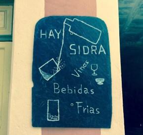 bar menu in a blackboard serving cyder