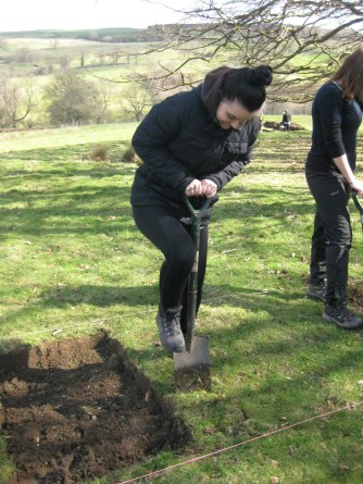 Jess de-turfing part of a trench. Photo by Ashley