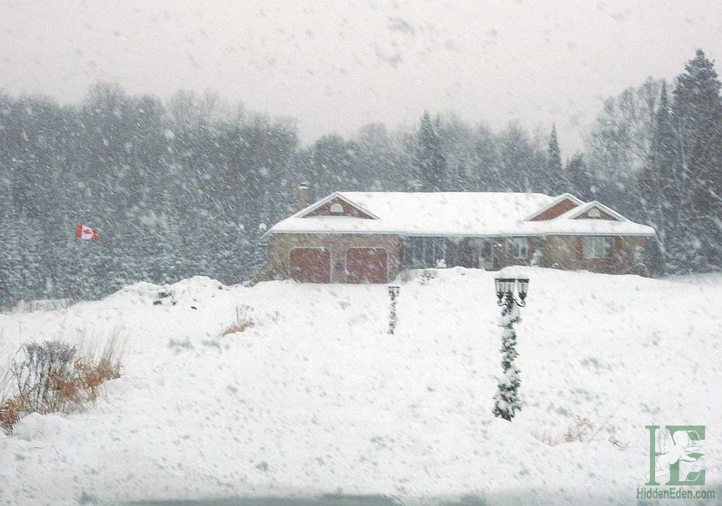 arriving home in heavy snow storm