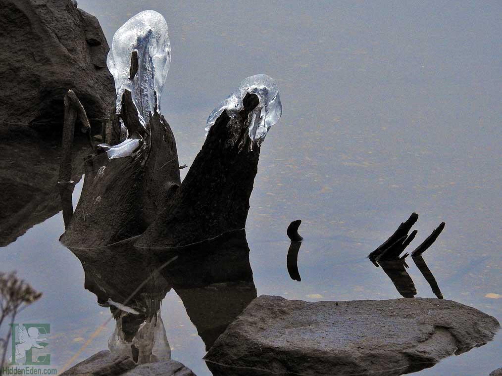 natural ice sculpture on Lake Muskoka