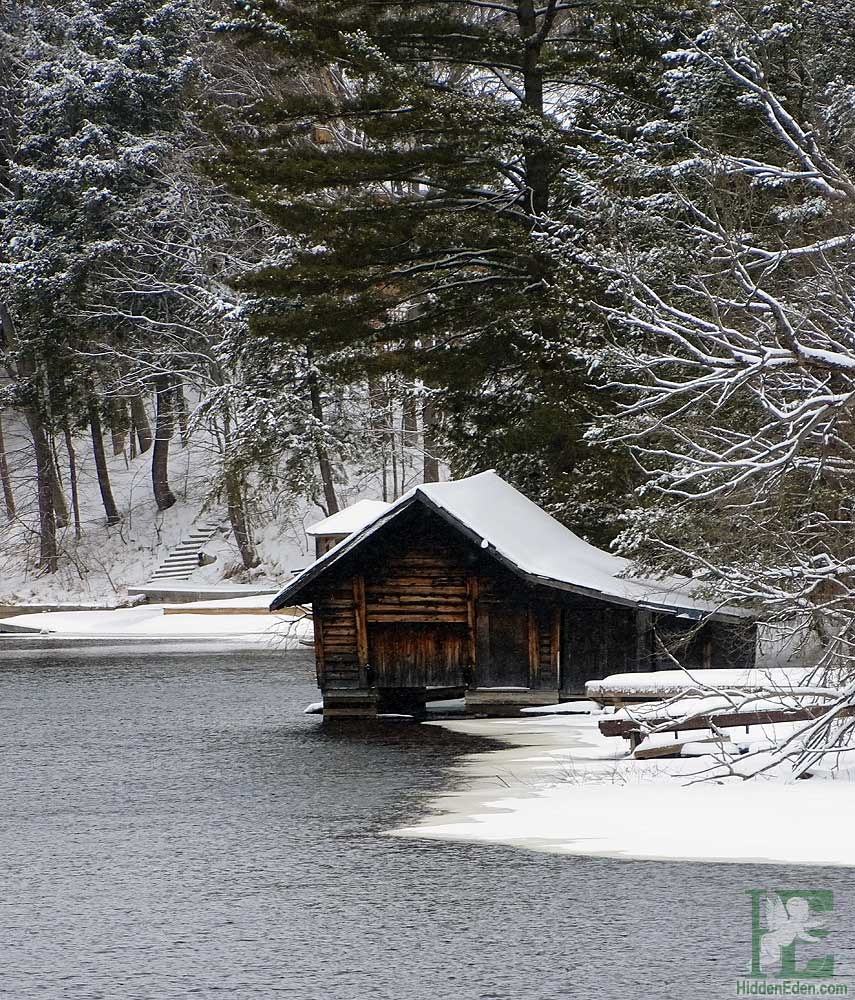 boathouse on snowy river in Huntsville Ontario