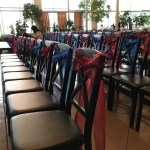 wedding sashes on chairs