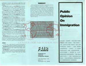 This is a picture of the front page of a public opinion brochure on immigration created by the Federation for American Immigration Reform (F.A.I.R.)