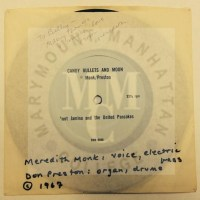 Photograph of the 33 ½ rpm vinyl record by Don Preston and Meredith Monk of Candy Bullets and Moon in 1967 in the original sleeve from the William Harris Papers.
