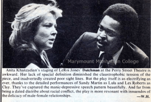 "Review of ""Dutchman"" by William B. Harris at the wellknown Perry Street Theatre in 1977. A one-act play with one location tackles the topics of race, class, and gender head on. Courtesy of Marymount Manhattan College"