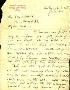 Scanned image of letter