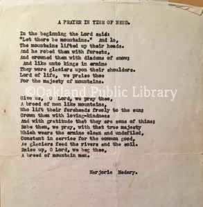 "This is a poem typed on a faded typewriter during the 1980s. The title is ""A Prayer in Time of Need"" by Marjorie Medary."