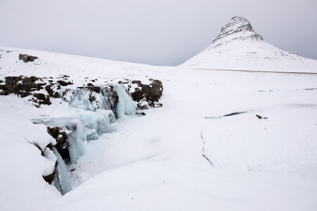 Kirkjufell & Kirkjufellsfoss in winter   Snæfellsnes Peninsula Tour   Hidden Iceland   Photo Brendan Bannister