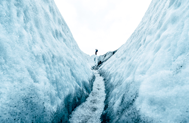 Falljökull glacier crevasse track. Hidden Iceland. Photo by Niklas Siemens. Feature
