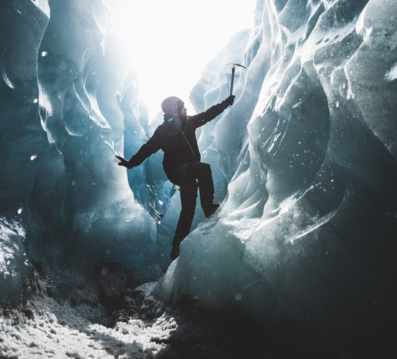 Inside glacier crevasse. Hidden Iceland. Photo by Norris Niman