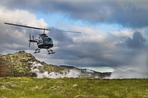 Norðurflug Geothermal Helicopter Tour flight landing in summer