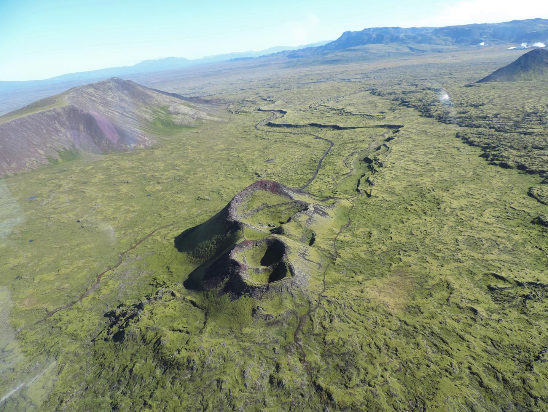 Flight of the Norðurflug Geothermal Helicopter Tour in summer
