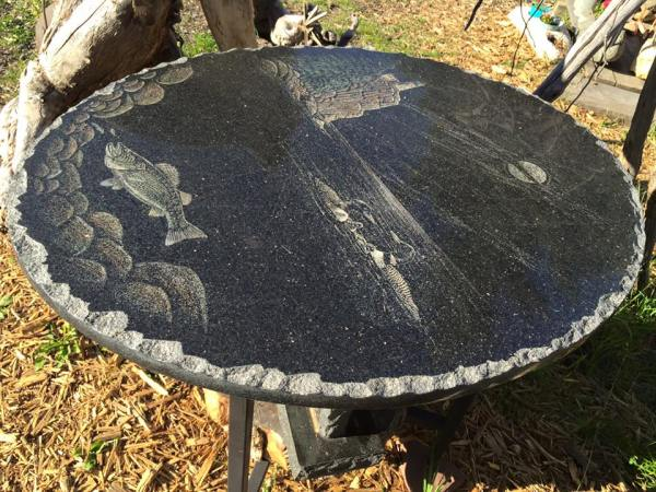 Stone etching art lake superior