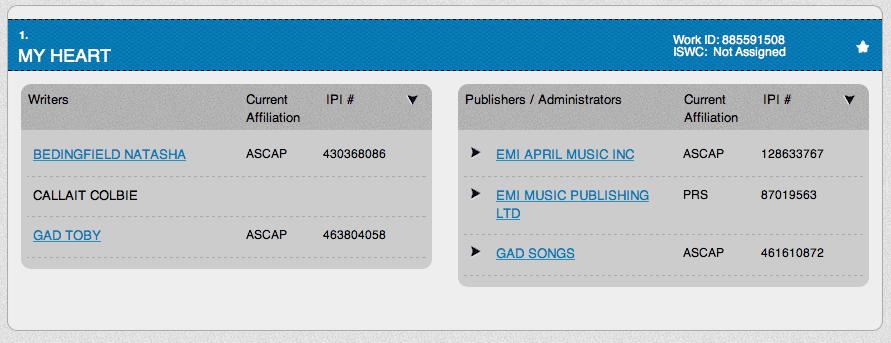 My Heart - Natasha Bedingfield - ASCAP
