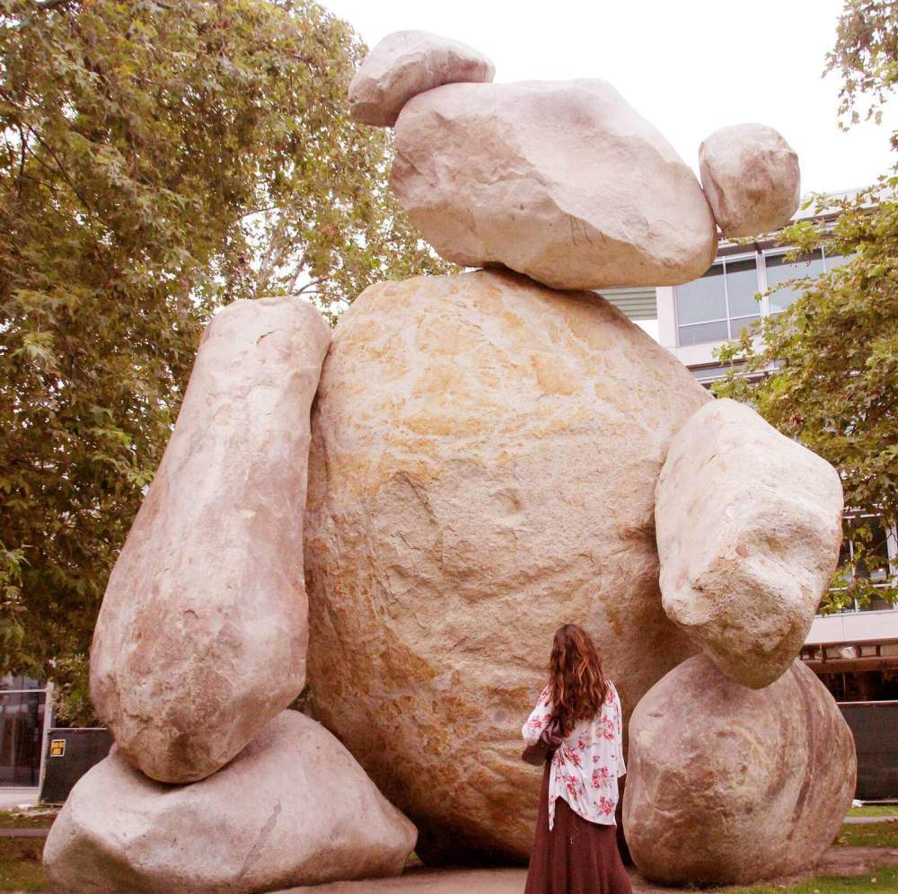 The secrets of UCSD include talking trees, a 100 ft. bear made out of boulders, a house crashed into a building.....