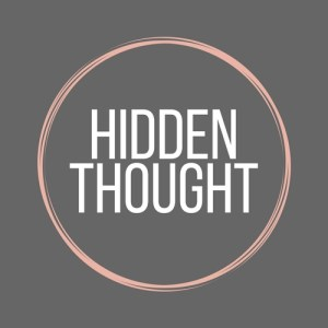 Hidden Thought Personal Assistant services logo, grey background with pink circle and white writing