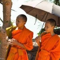Mönche unter einem Sonnenschirm