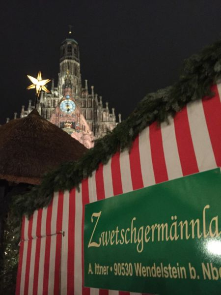 Church and stall at Nuremberg christmas market