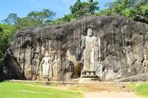 Rock with buddhas in Sri Lanka